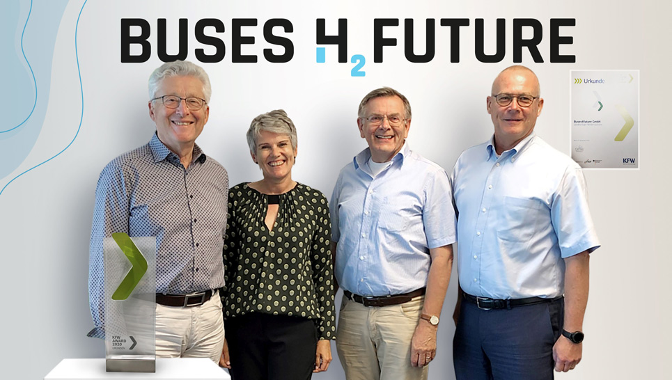 Gruppenbild Buses4future. Als Landessieger Niedersachsen im Unternehmenswettbewerb KfW Award Gründen 2020 ausgezeichnet